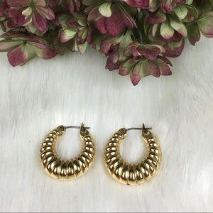 Monet Jewelry - Vintage Monet Gold Tone Hollow Shrimp Earrings